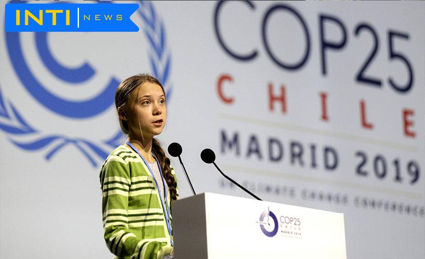 Greta Thunberg pronuncia su discurso ante el plenario de la Cumbre del Clima, este miércoles. Andrea Comas